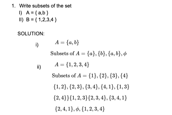 sets class 11 questions, sets class 11, write subsets of set